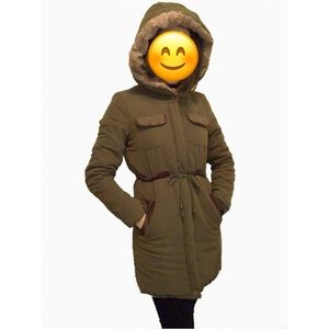 Olive Green Zippered and buttoned Hooded Coat